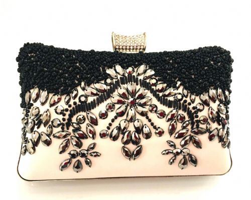 The Kikki White & Black Bead & Gem Embellished Clutch